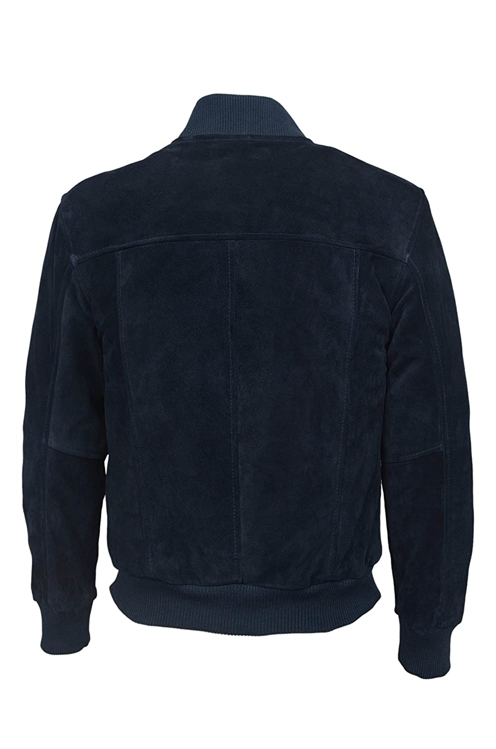 70'S RETRO BOMBER 275 Men's Navy SUEDE Cool Classic Soft Italian Leather Jacket