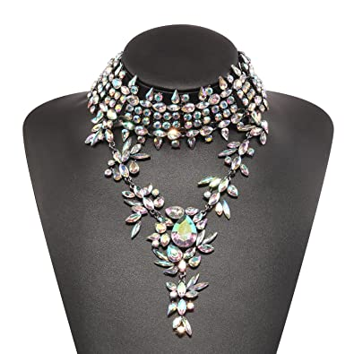 Holylove Statement Necklace Gold Chain Colorful Crystal Choker Women Jewelry with Gift Box 814tqaSY