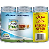 Rainbow Evaporated Milk 170g with Vitamin D, (Pack of 12)
