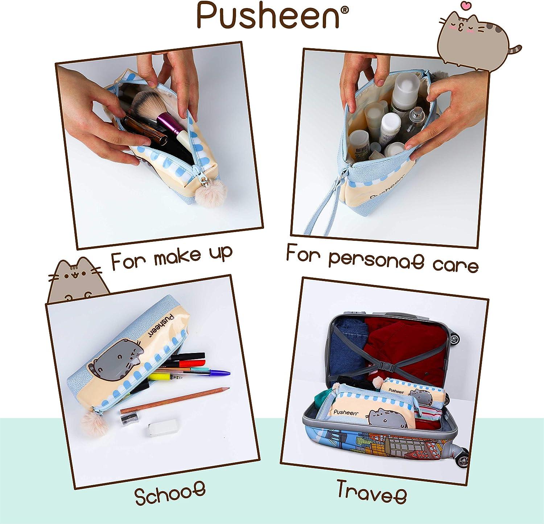 Neceser Mujer Set de 2 Neceser Maquillaje El Gato Pusheen Pack Neceser para Organizador de Maquillaje Ni/ña//Mujer Regalo de Cumplea/ños Neceser para Kit Maquillaje y Estuche Escolar para ni/ñas