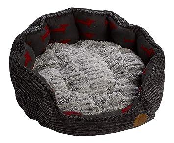 Cama para perro Petface, de pana, forma oval de gran tamaño, color gris, con cojín polar, cesta acolchada de pelo sintético: Amazon.es: Productos para ...