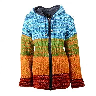 9b9b64bcb959 Kunst und Magie Damen Rainbow Strickjacke Goa Jacke Wolle mit Zipfelkapuze   Amazon.de  Bekleidung