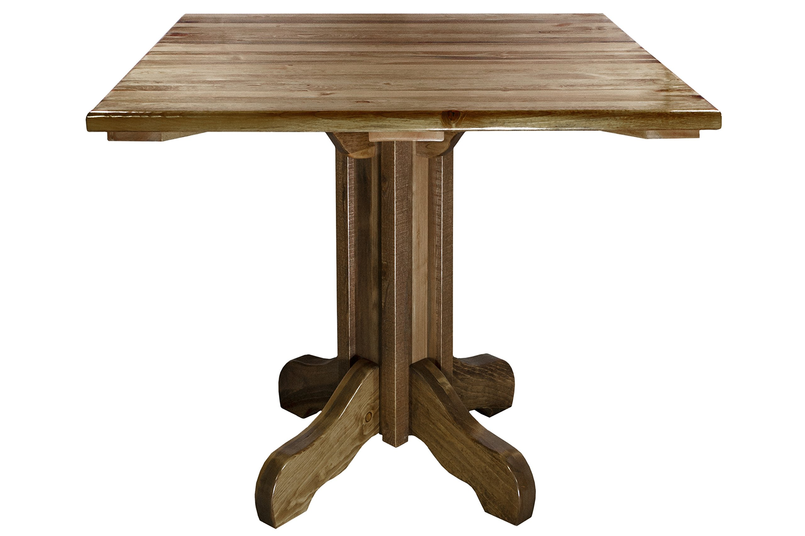Montana Woodworks Homestead Collection Center Pedestal Table with Square Table Top, Stain and Lacquer Finish