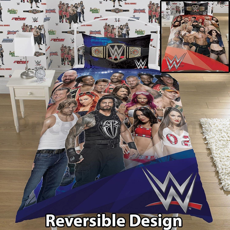 Panneau r/éversible Designs dreamtex WWE 2k17 Fa/çade VS Talon Simple//Double Parure de lit Single Duvet Cover Bleu