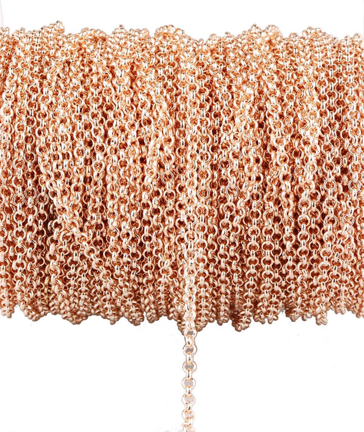 32,8/Ft nicht verblassen rose vergoldet Twisted Ketten Metall Kabel Kette Link Schmuck zu Kette f/ür DIY Armband Halskette zu 2.5mm Intensive chain