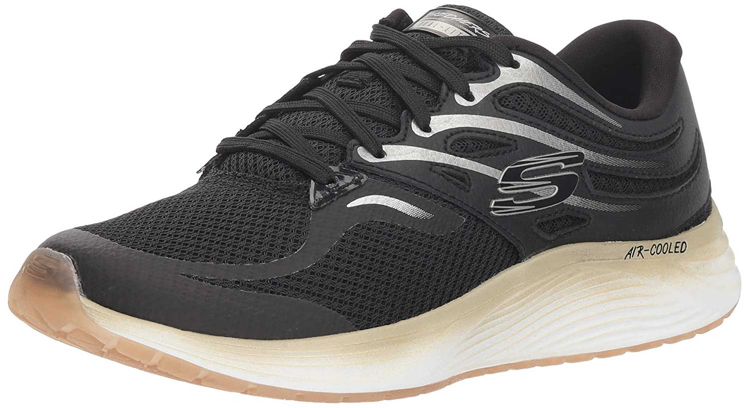 Skechers Women's Skyline Sneaker B078TMTMNT 11 M US|Black/Gold