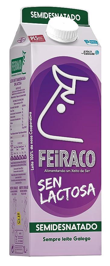 Feiraco Leche UHT Semidesnatada sin Lactosa - Paquete de 6 x 1000 ml - Total: 6000 ml: Amazon.es: Alimentación y bebidas