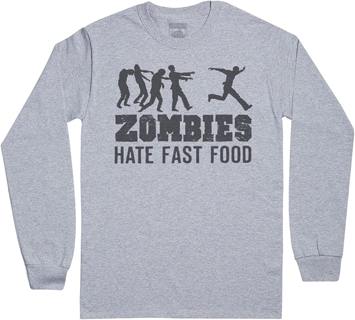 Zombies Hate Fast Food Men's Novelty Long Sleeve T-Shirt, Mens Gift, Gift for Him, Mens Top