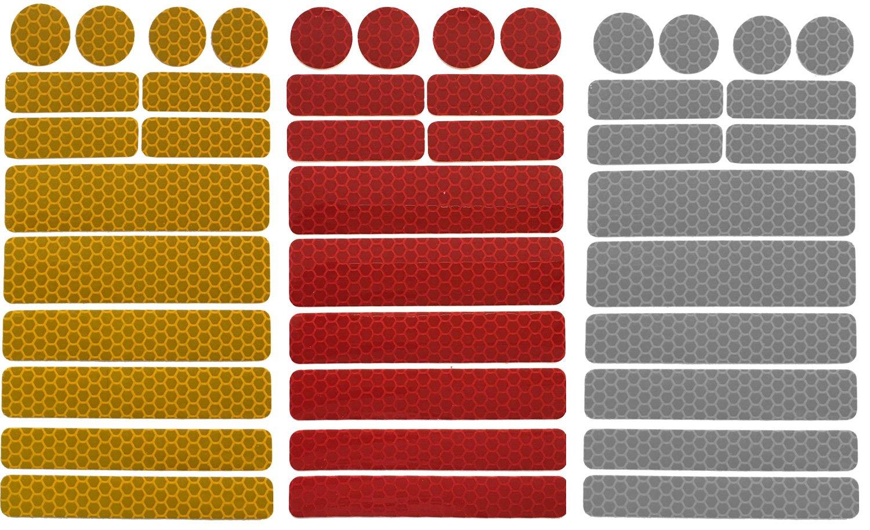 UvV-Reflex Sticker - Reflektoren 42 Stück Light Reflex Reflektor für Buggy, Kinderwagen, Gehstock, Bikes, Helm (silber-rot-gelb) UV-2REFLEX