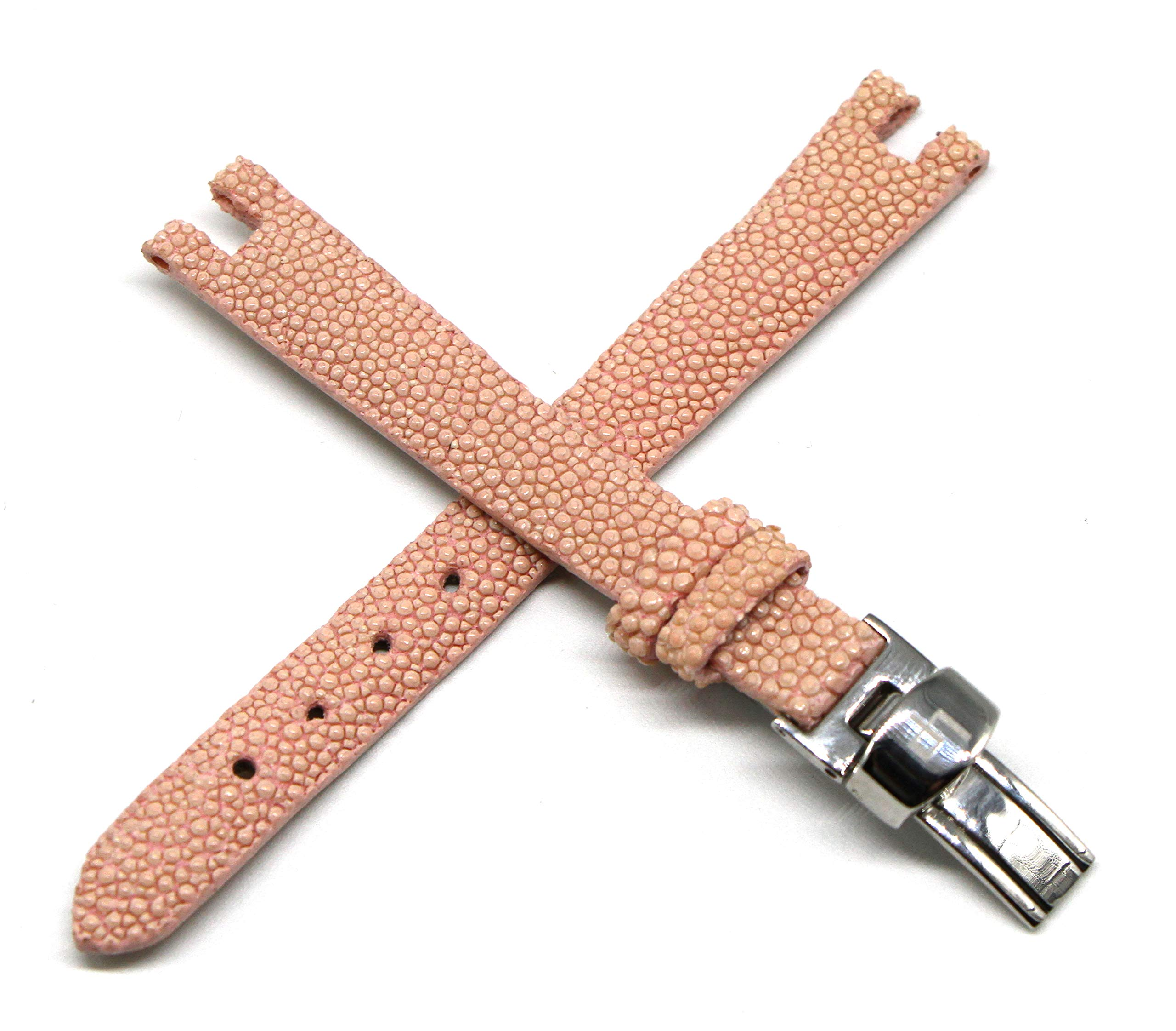 Lucien Piccard 12MM Pink Genuine Stingray Leather Watch Strap 6.5 Inches with Silver LP Logo Clasp Authentic