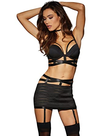 c872cecfb3 Amazon.com  Dreamgirl Women s 2-Piece Bandage-Style Bra and Garter ...