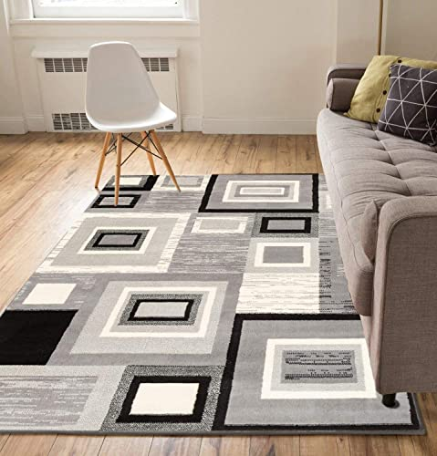 Well Woven Geometric Squares Grey 9 3 x 12 6 Oversized Area Rug Carpet