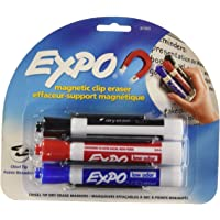 EXPO 81503 Magnetic Low Odor Markers, Chisel Tip, Assorted Colors, 3-Count with Magnetic Clip