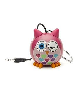 Kitsound Mini Buddy Speaker, Altoparlante Portatile Ricaricabile per iPhone, iPad, iPod, Smartphone, Tablet, Gufo Rosa