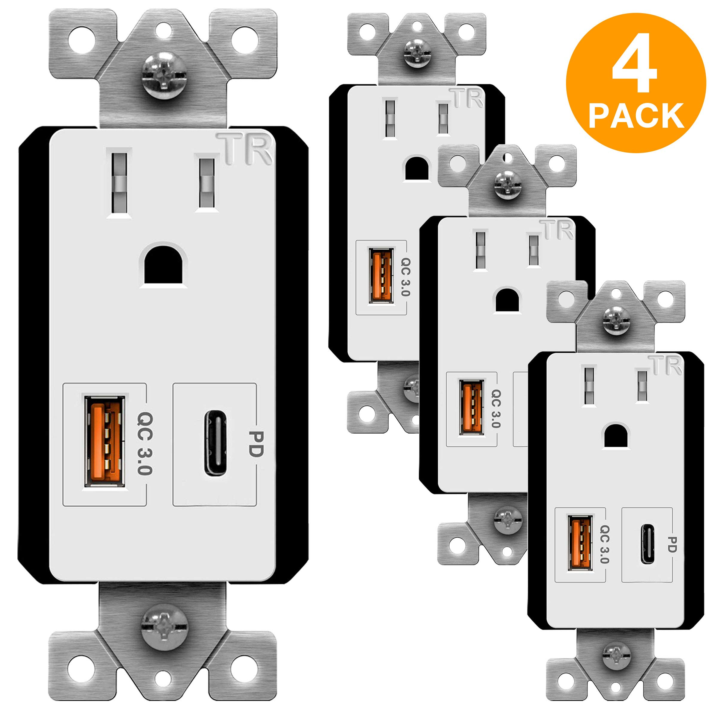 TOPGREENER USB Outlet with 18W Type-C Power Delivery Port and Quick Charge 3.0 USB Port, 15A TR Outlet, for iPhone 8/X/XS/XR, iPad Pro, iPad Mini 4, Google Pixel, Samsung Galaxy, TU115QC3PD, 4-Pack by TOPGREENER