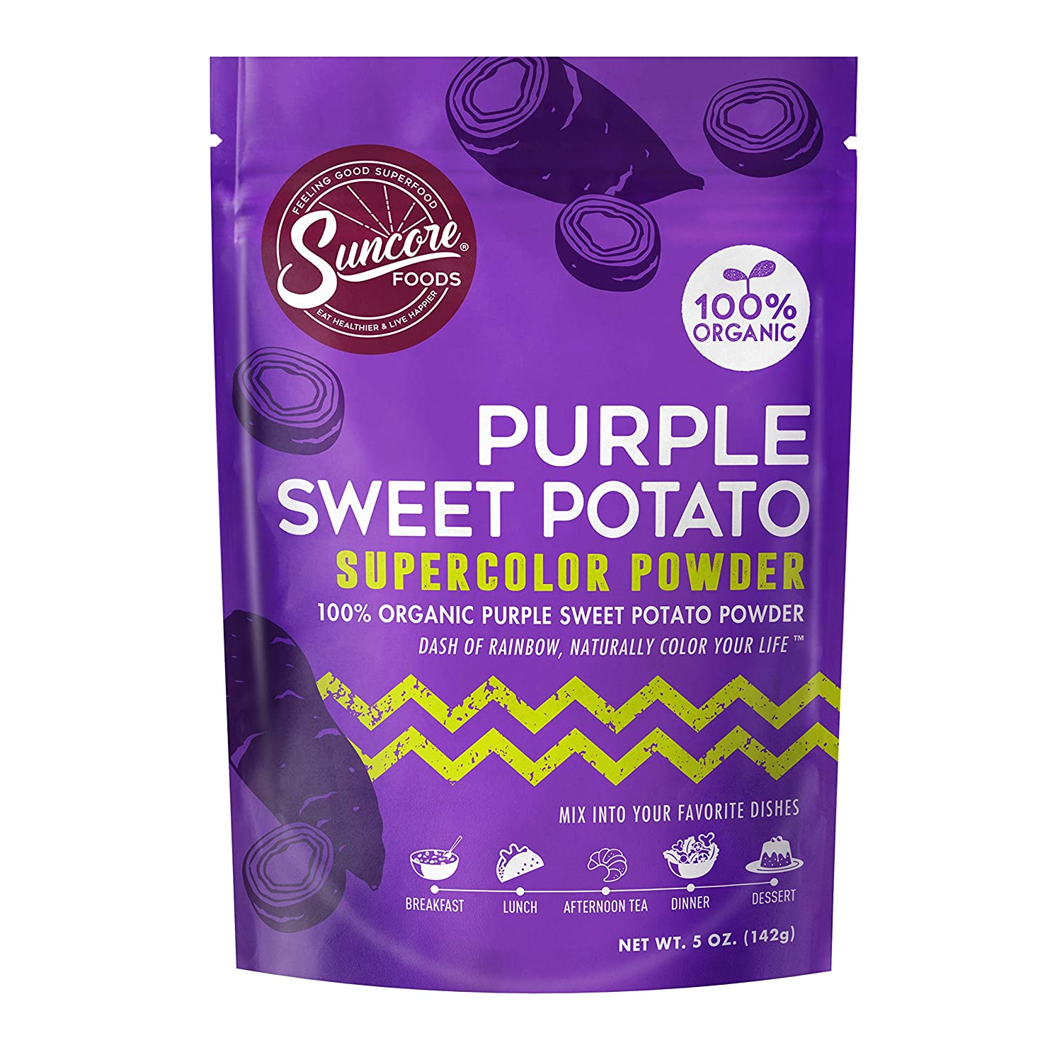 Suncore Foods – Organic Purple Sweet Potato Supercolor Powder, 5oz – Natural Purple Sweet Potato Food Coloring Powder, Plant Based, Vegan, Gluten Free, Non-GMO