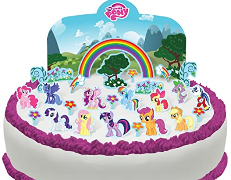 Prime Cake Toppers My Little Pony Mixed Logo Border Precut Edible 7 5 Personalised Birthday Cards Beptaeletsinfo