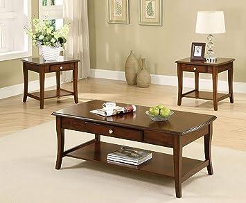 Black Finish Furniture Of America 3 Piece Jensen Table Set Living Room Furniture Home Kitchen