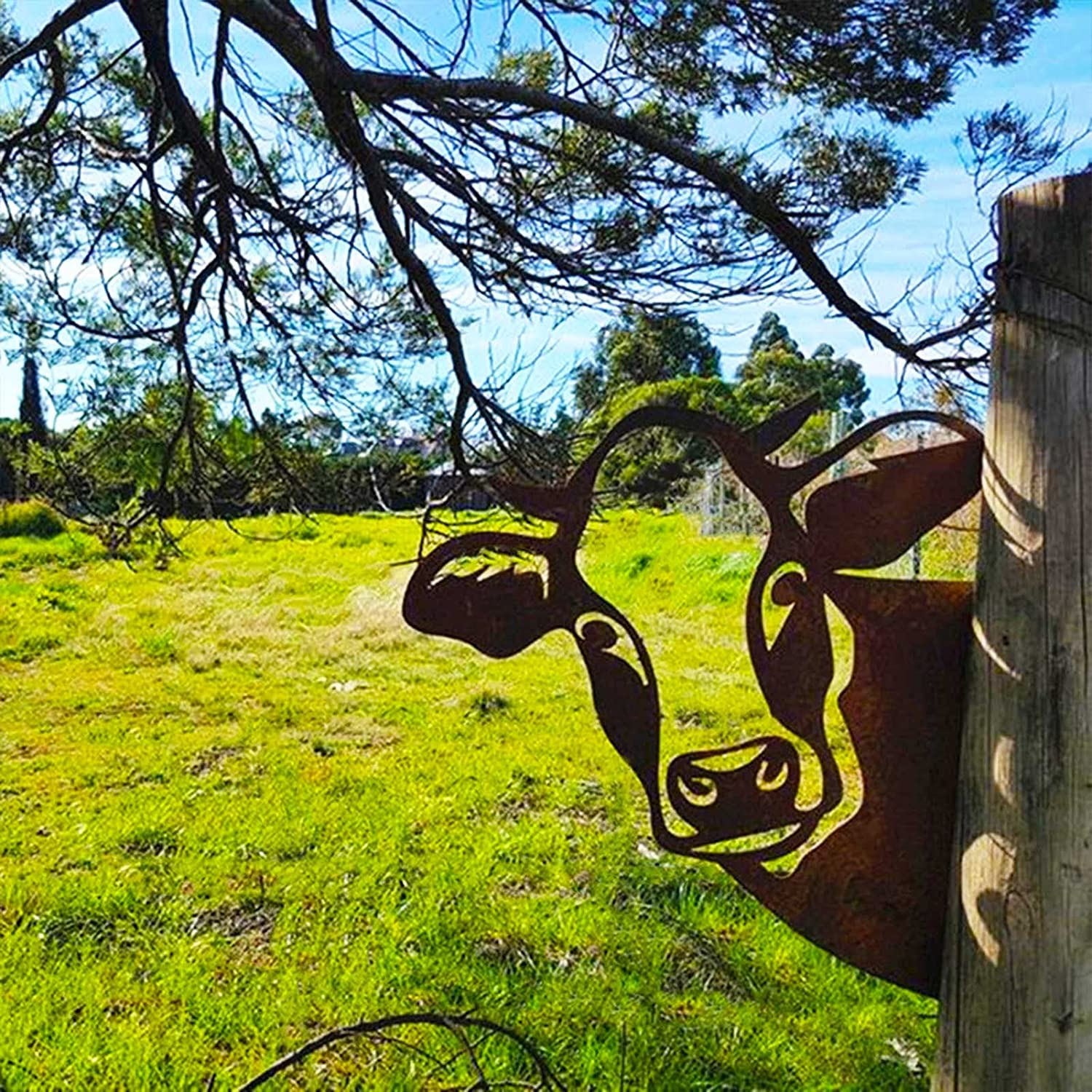 Peeping Cow Metal Art, 3D Farm Peeping Cattle Metal Art Outdoor Garden Statue, Farm Peeping Cow Art Ornament Craftwork for Patio Backyard Lawn Garden Decor for Outside, Indoor Outdoor Figurine