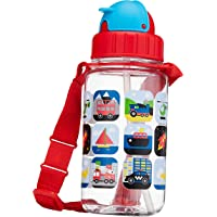 Simply Life SLMA-1501-350ST - Awesome vehicles - BPA-free Tritan Bottle with Straw and Safety Release Strap (350ml) Red