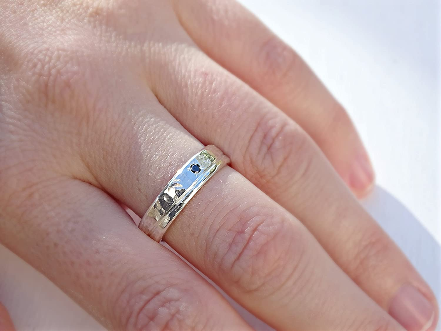 Amazon.com: diamond wedding band silver ring fancy diamond, diamond ...