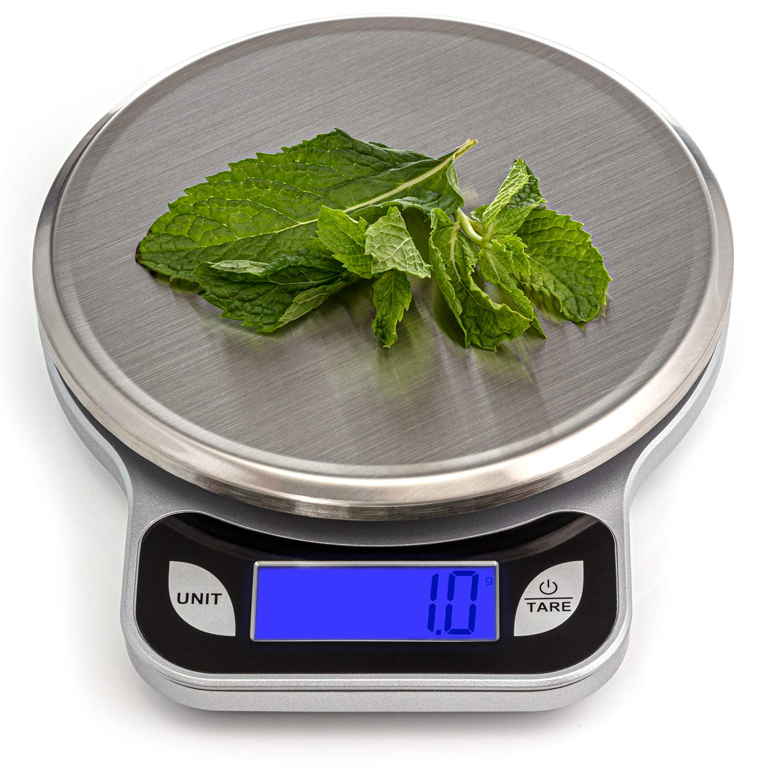 SALUBRE++ Digital Food Scale with Stainless Steel Weighing Platform. Digital Kitchen Scale weighs in Pounds, Ounces, or Grams to 13 lb (5.89 kg) with 1/2 gm Increments. Batteries Included. by REM Concepts