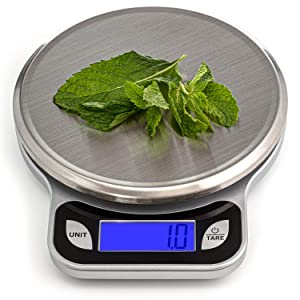 SALUBRE++ Digital Food Scale with Stainless Steel Weighing Platform. Digital Kitchen Scale weighs in Pounds, Ounces, or Grams to 13 lb (5.89 kg) with 1/2 gm Increments. Batteries Included.