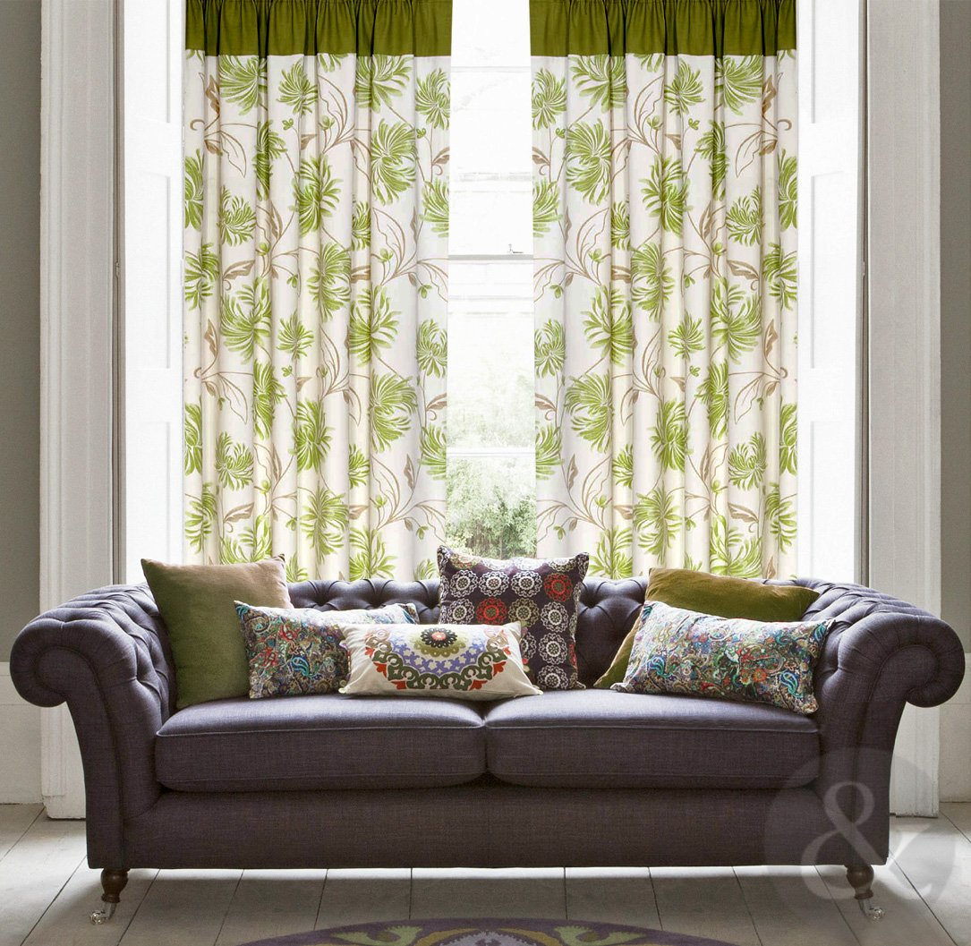 Just Contempo Floral Cotton Canvas Eyelet Lined Curtains, Green, 66x72  Inches: Amazon.co.uk: Kitchen U0026 Home