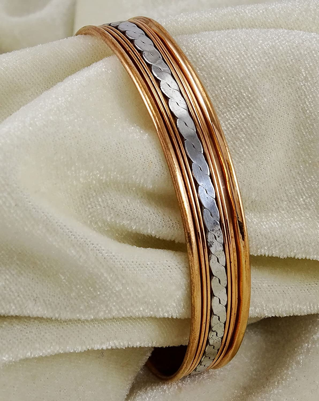 Banithani Pure Copper Unisex Adjustable Cuff Bracelet Armband Jewellery