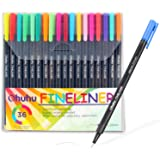 Ohuhu 36 Colors Fineliner Pens, 0.4mm Colored Fine Line Marker Marking Pen for Journal Book Sketch Drawing Fine Liner Coloring Book