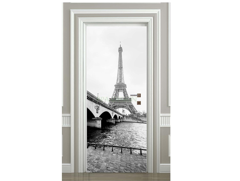 Sticker Porte Tour Eiffel Noir et Blanc - SAPP7011 (63x204cm) PPA-DESIGN