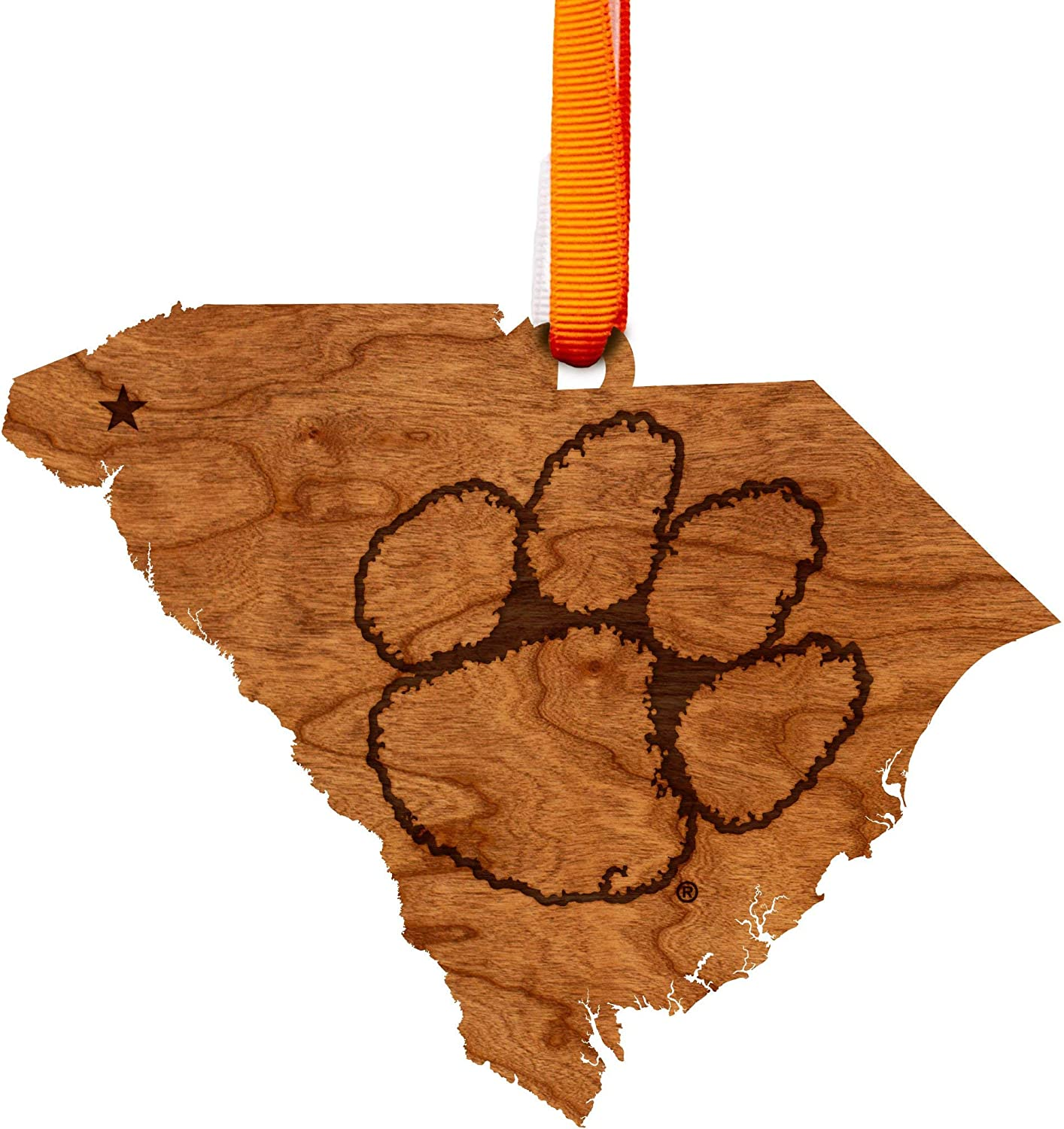 LazerEdge NCAA Wooden Ornament (Clemson Tigers - State Map with Tiger Paw)