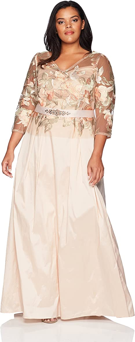 Adrianna Papell Silver Multi Embroidered Floral Flutter Sleeves Long Dress NEW