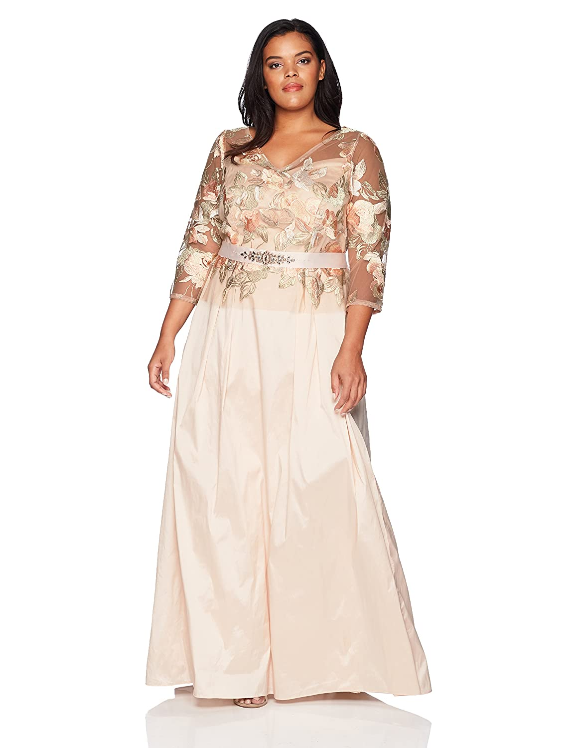 963672bd6 Adrianna Papell Women's Floral Embroidered Long Dress with Taffeta Skirt  Plus Size at Amazon Women's Clothing store: