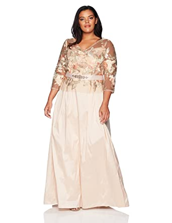 3ee043da711d Adrianna Papell Women's Floral Embroidered Long Dress with Taffeta ...