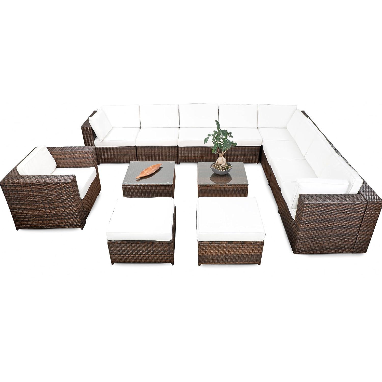 erweiterbares 38tlg lounge m bel set ecksofa polyrattan. Black Bedroom Furniture Sets. Home Design Ideas
