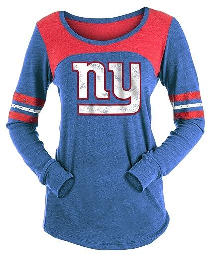 5605ab0ac Amazon.com   New York Giants Women s Long Sleeve Tri-Blend Striped T ...