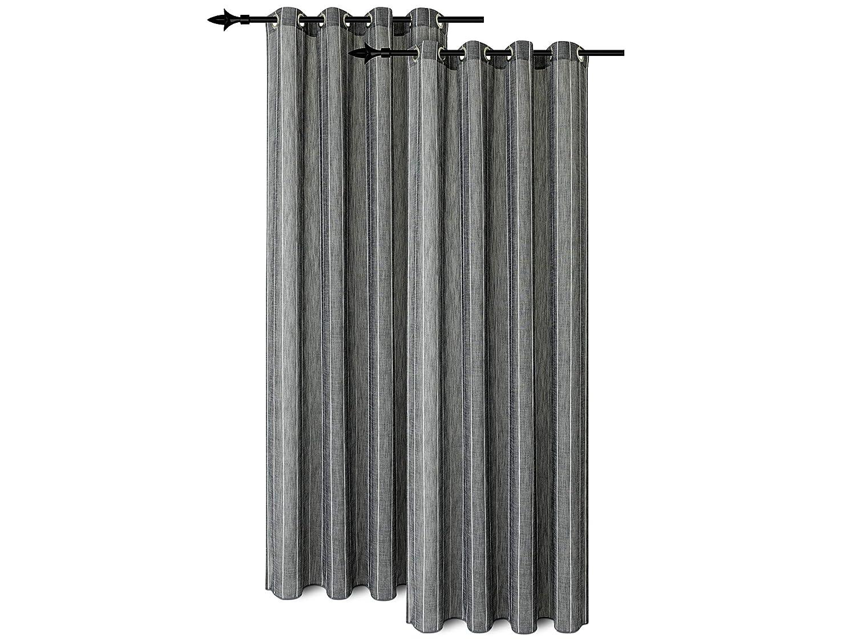 Npluseins Doppelpack - Ösenvorhänge - mit senkrecht Gewebtem Ziergarn - Blickdicht - erhältlich in 4 Farben, grau