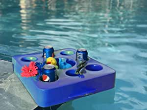 VOS Family Size Floating Refreshments Holding Tray for Snacks and Drinks | Ultra Buoyant Water Floats for Pools Sandbars Parties, 9-Holes, Capri Blue