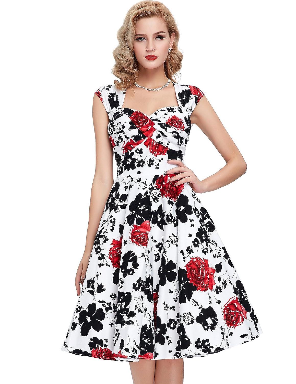 Belle Poque 50er Vintage Retro Rockabilly Kleid Sommerkleid Knielang in Mehreren Farben