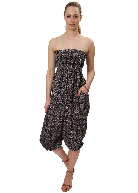 14102ba589 likemary 2 in 1 Cotton Harem Trouser or Bandeau Jumpsuit Tribal Discs   Amazon.co.uk  Clothing