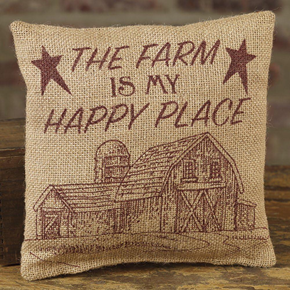 Amazon Com Farm Is My Happy Place 8 X 8 Burlap Decorative Throw Pillow Kitchen Dining