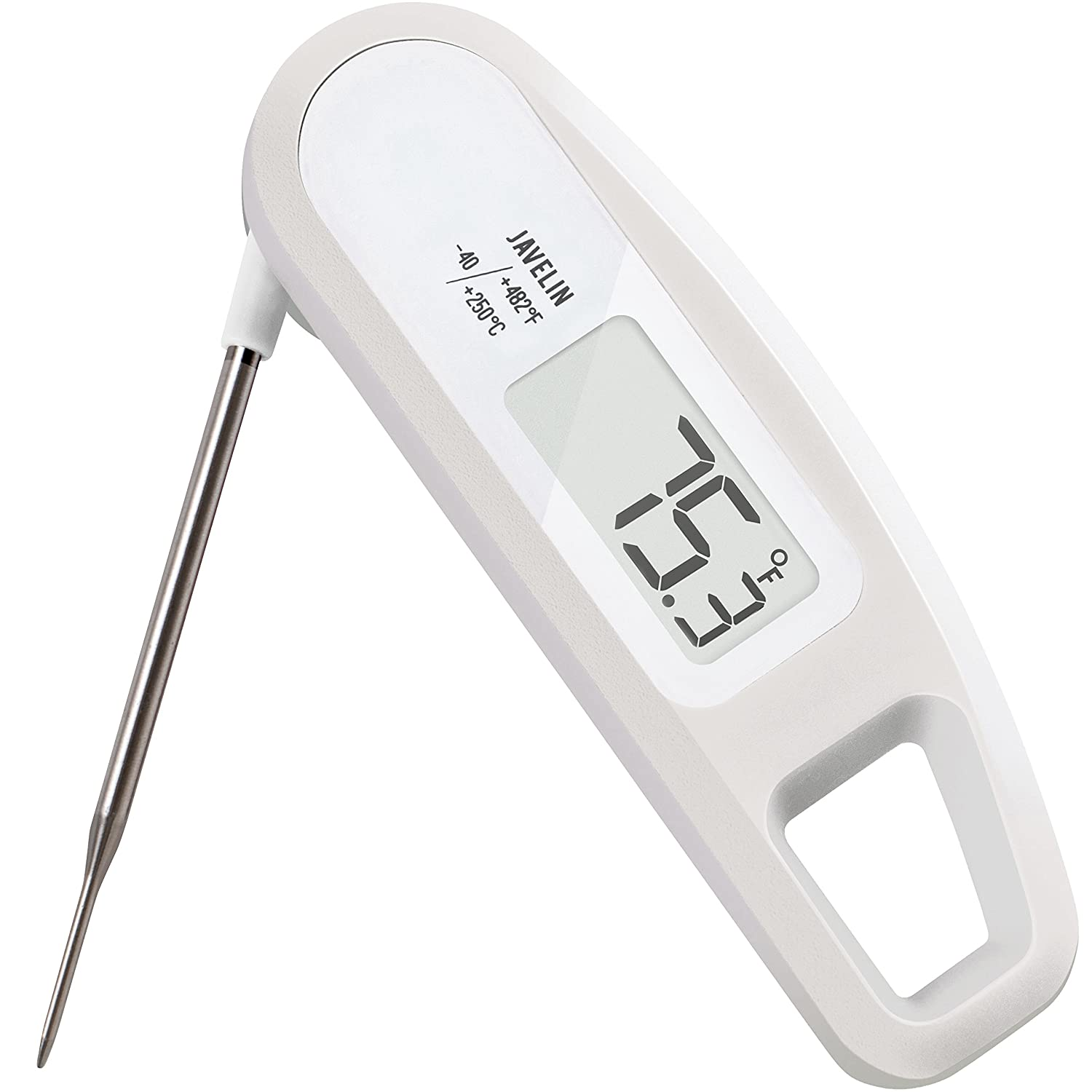 Ultra Fast & Accurate, Splash-Resistant, High-Performance Digital Food/BBQ Thermometer - Lavatools Thermowand® (White) PT12
