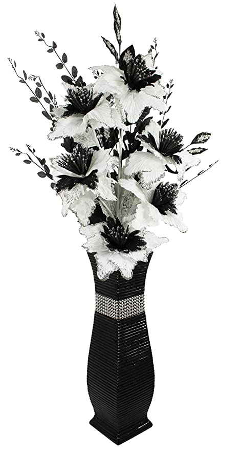 Large Black Floor Vase With Black And White Sparkle Artificial
