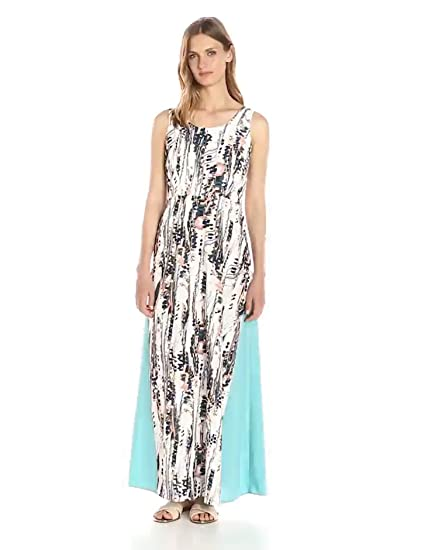 Lark & Ro Women's Sleeveless Printed Maxi Dress, Paint Drop, Medium