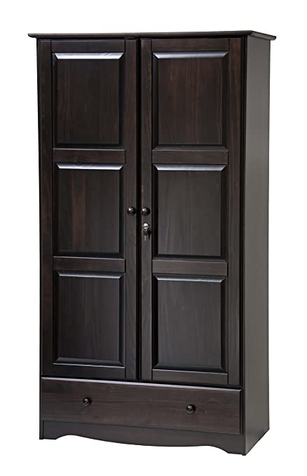 . 100  Solid Wood Universal Wardrobe Armoire Closet by Palace Imports  Java  Color  40  W x 72  H x 21  D  2 Clothing Rods  2 Shelves  1 Lock  1 Drawer