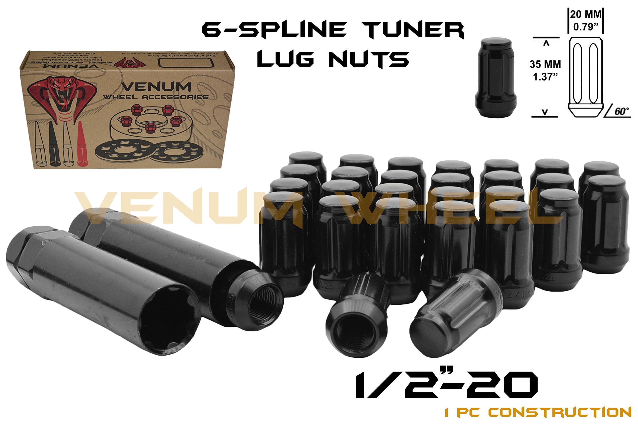 (24) 1/2-20'' Black 6 Spline Security Lug Nuts with Two Locking Socket Keys | Fits Dodge Durango Viper 1998-2003 Aftermarket Wheels
