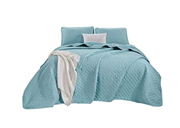 Queen, Blue Chezmoi Collection Atlas 3-Piece Yarn Dyed Heathered Weave Solid Quilted Bedspread Set
