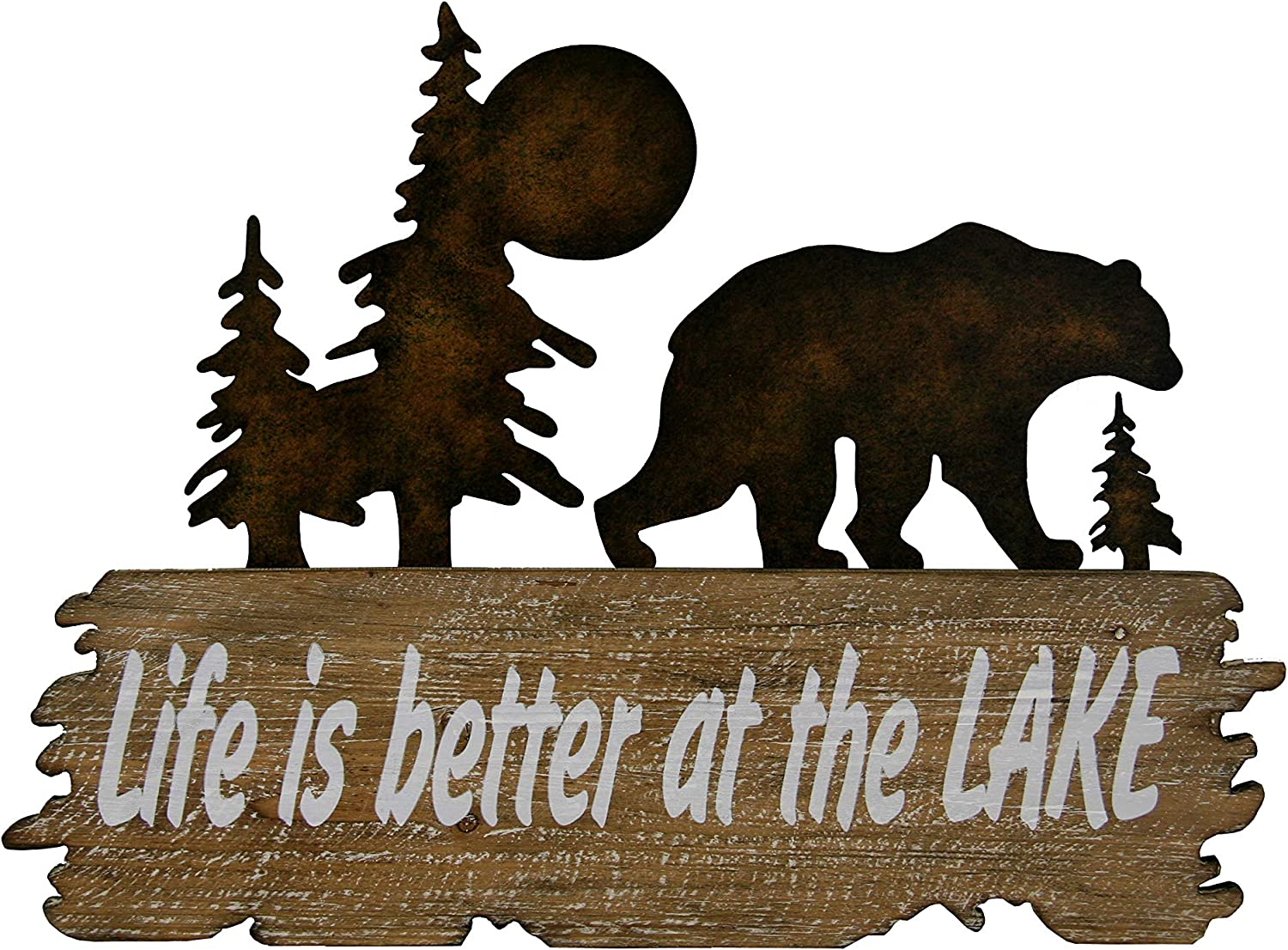 Carina's Collection Rustic Bear and Solid Wood Wall Decor - Life is Better at The Lake