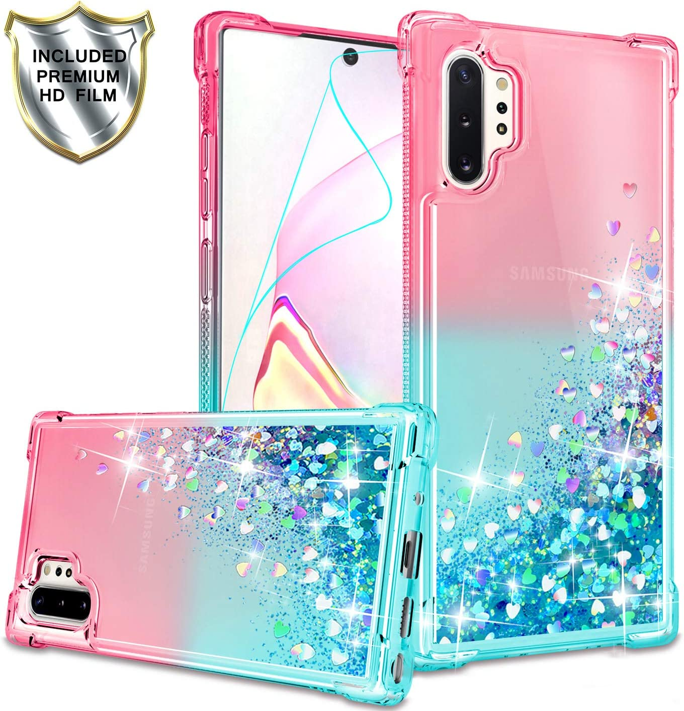 Gritup Galaxy Note 10 Plus Case, Galaxy Note 10+ 5G Case with HD Screen Protector for Girls Women, Cute Clear Gradient Glitter Liquid TPU Slim Phone Case for Samsung Galaxy Note 10 Plus Pink/Teal